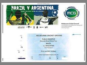 4 Gold Adult tickets - Brazil versus Argentina MCG 9 June 2017 Maryland Newcastle Area Preview