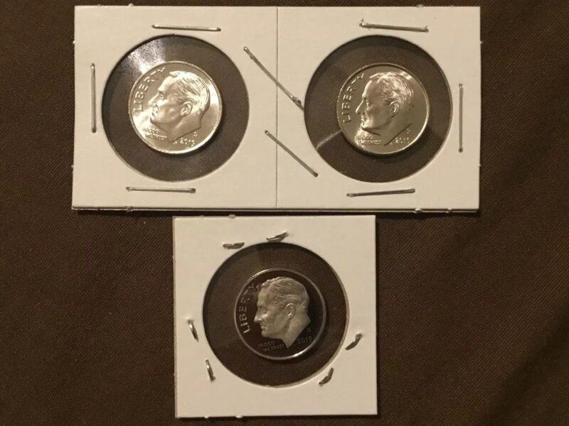 2019 P+D+S Roosevelt Dime Mint Proof Set ~ PD from Bank Rolls