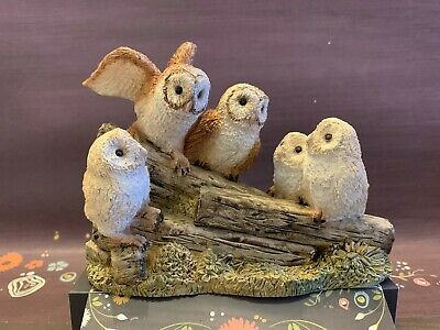 Barn Owl family of 5 Owls United Design Corp. USA Vintage