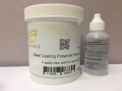 (CLEAR POLYESTER CASTING RESIN by EPOXY WORLD 1 pint (16 oz.) w/ MEKP FREE SHIP)