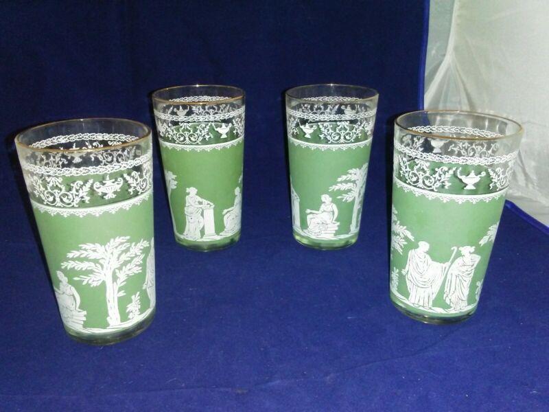 VTG Wedgewood Jasperware Hellenic Jeanette Green Greek Glasses set of 4