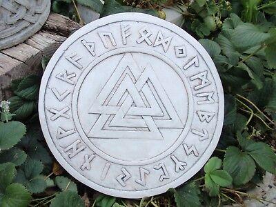 valknut rune circlewall decorationstone finish mjolinr asatru viking odin thor - Viking Props