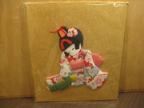 Japan Oshie 3D Puffy Fabric Japanese Wall Art Little Girl with Doll
