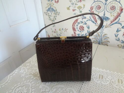 "Vintage Alligator Croc purse handbag Classic 9.5 "" x 9.5 "" 6 ""  strap drop tlc"