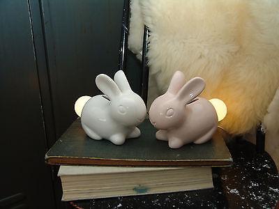 LED Nachtlicht, Kinderzimmer Hase aus Porzellan, weiß/rosé, Baby, Weihnachten