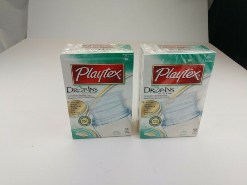 Playtex Baby Bottle Nurser Drop-Ins Replacements 4 oz Baby Bottle Liners 2 50Ct