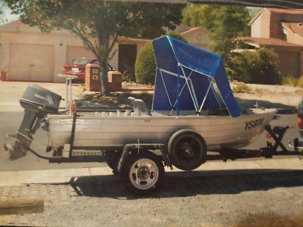 Aluminium tinnie 3.6 metre stacer With 25hp motor an tilt trailer