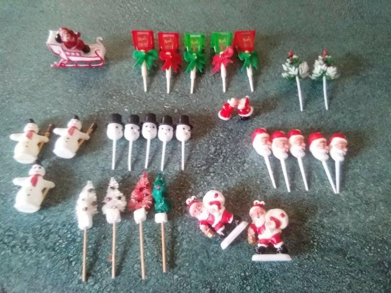 29pc Vintage Christmas Cupcake Cake Toppers Decorations Santa Trees Snowmen Post