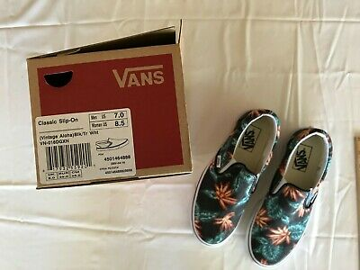 Vans - Off The Wall New in Box Vintage Aloha Black White Shoes Mens 7 Womens  8.5 8a3fa95de