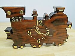 Redwood/Cypress Wood Slab Wall Clock Train Engine Vintage Handcrafted Home Decor