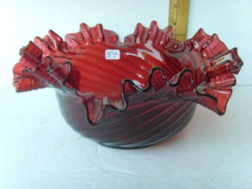 Antq Pigeon Blood Red Pontiled Midwestern Swirled Bowl-American ~1860-1880 55/54