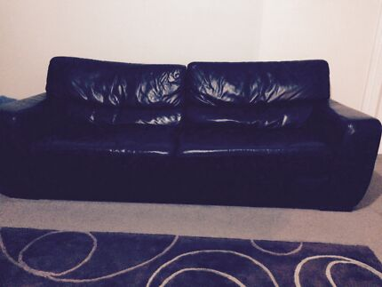 Great condition black leather sofa and chair Waverley Eastern Suburbs Preview