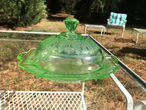 Princess Green Depression Glass Butter Dish Hocking Glass 1931-35 MINT CONDITION