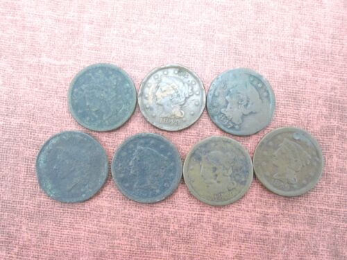 7 Coins Various Dates Cull Large Cents 1837-1851 Q2G9