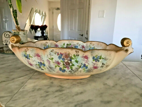 Vintage 1940s ABINGDON USA Ceramic Floral And Gilded Hand Painted Oval Bowl