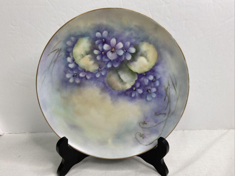 Vintage Purple Floral Porcelain Plate Handpainted Artist Signed Gold Trim