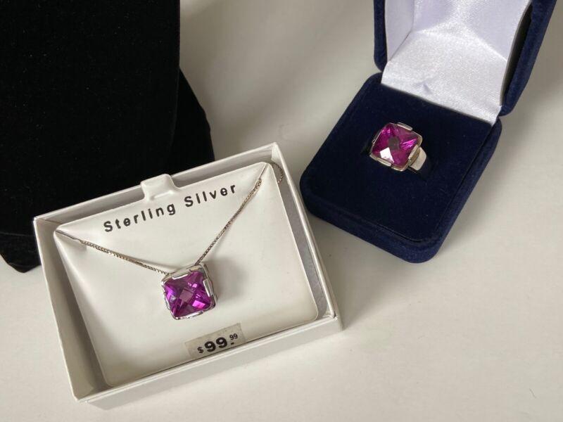 Sterling Silver Set Raspberry CZ Pendant Necklace 925 Raspberry CZ Ring Size 8