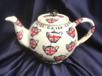 CARDEW DESIGN china teapot G.B. TEA GREAT BRITAIN Union Jack NEVER USED!