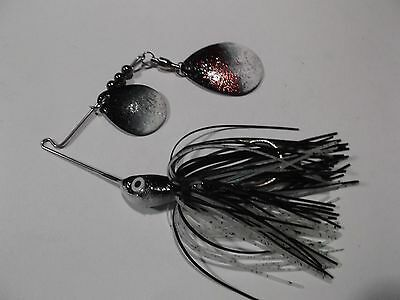 SPINNERBAIT 1/4oz GLOW IN THE DARK PERFECT NIGHT TIME FISHIN DOUBLE BLACK BLADE