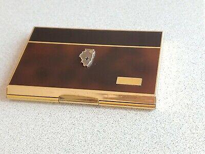 Vtg Colibri Solar Power Calculator Gold Tone Illinois Bell Stamp Card Holder