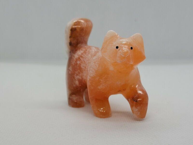 Zuni Fetish Orange Alabaster Fox By Loren Tsalabutie