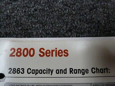 Terex Stinger 2863 Boom Truck Crane Load Lifting Capacities Chart Manual