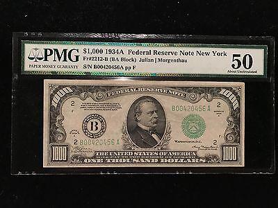 1934A $1000 One Thousand Dollar Bill PMG AU50 High Denomination Currency Fr2212B