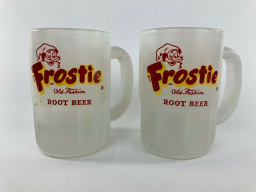 Vintage FROSTIE ROOT BEER Float RARE Pair of FROSTED Glass 12oz Mugs Mug Lot
