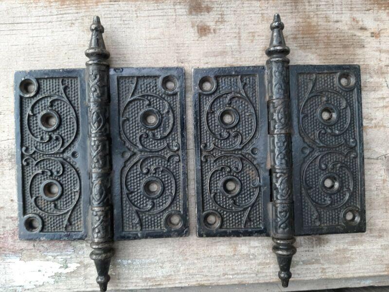 antique vintage door hinges ornate metal
