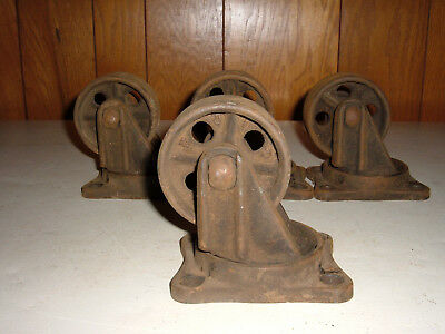 4 Huge Antique Vintage Matching Bond Cast Iron Industrial Caster Cart Wheels
