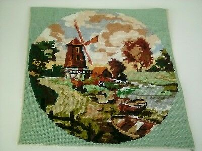 Vintage Tapestry Windmill country scene 29 X 29 cm Panel Hand Stitched Tapestry