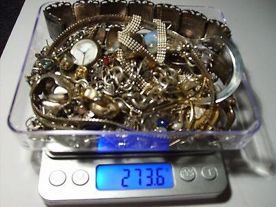sterling silver scrap lot, .925 watch, earrings, chains, braclets,vintage,wear