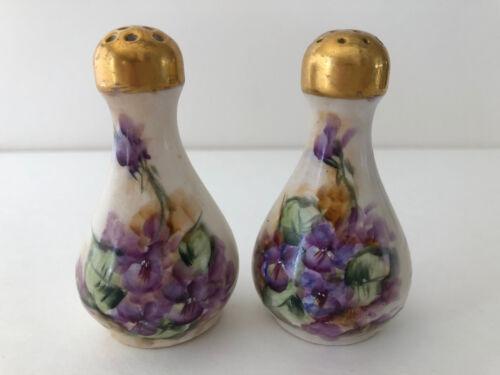 Antique Royal Austria O&EG Salt Pepper Shakers Hand Painted Violets Artist Sign