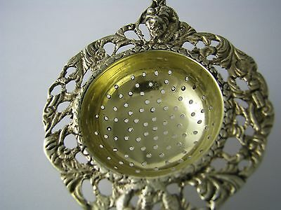 DUTCH SILVER PLATED TEA STRAINER LEMON SUGAR SIFTER Netherlands Holland Ca1900s - $125.00