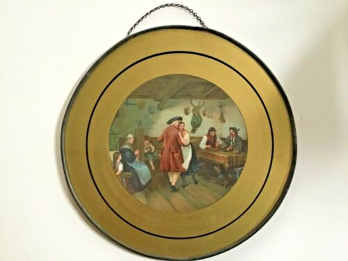 Beautiful German Lithograph ANTIQUE CHIMNEY FLUE COVER DANCING COUPLE