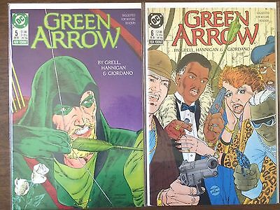 """Green Arrow #5 #6  (DC 1st Series 1988)  """"Gang Wars Part 1-2""""   Mike Grell    VF"""