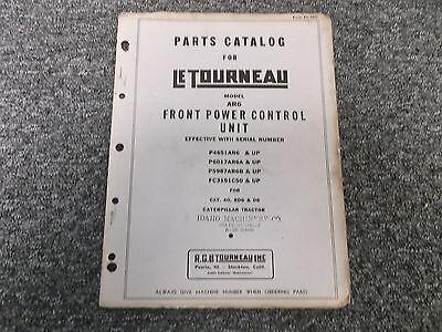 Letourneau Model Ar6 Front Power Control Unit Cat 40 Rd6 D6 Part Catalog Manua