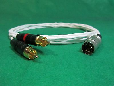 3' FT PURE SILVER PLATED 5 PIN DIN MALE to RCA NAIM NAIT NAC AMPLIFIER CABLE.