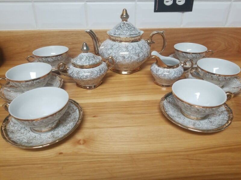 Vintage Bavaria China Tea Set Gold And White 15 Pieces