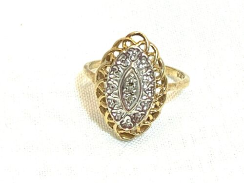 Vintage Diamond 10kt Yellow & White  Gold Ring