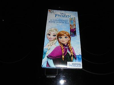 DISNEY FROZEN 16 VALENTINES WITH 16 PENCILS NEW WITH FREE SHIPPING!!!!!!!!!!!!!!