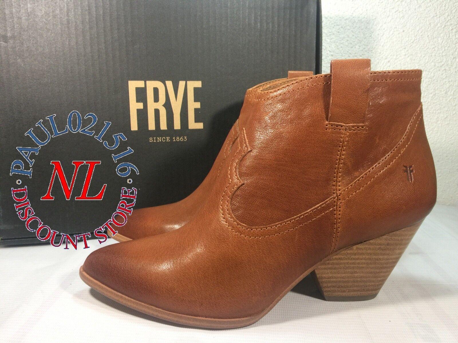 FRYE Women's Reina Cognac Leather Western Ankle Bootie ~ Cog