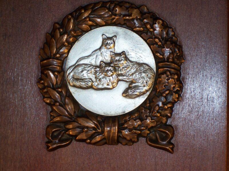 FELINE AWARD PLAQUE  CAT TROPHY MEMORIAL