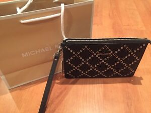 Brand new Michael Kors studded leather wristlet wallet clutch