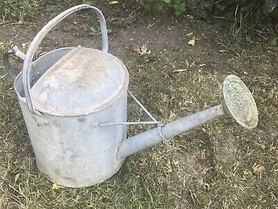 vintage galvanised metal watering can - no leaks water tight + rose