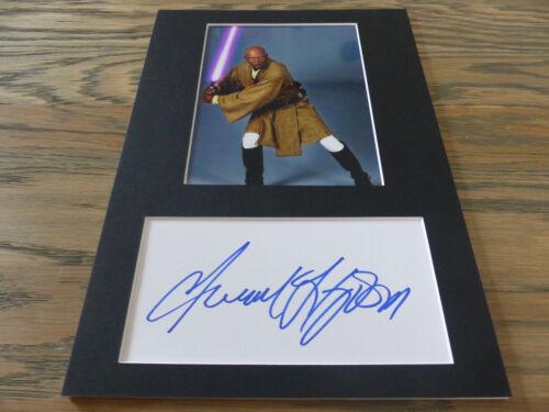 """SAMUEL L. JACKSON signed Autogramm 20x30 cm """"STAR WARS"""" Passepartout InPerson"""