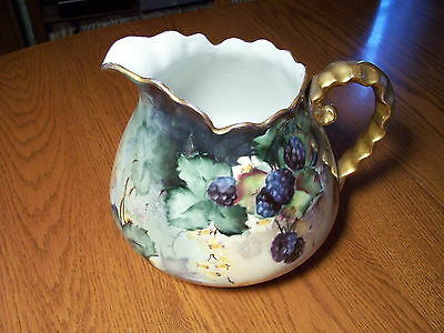 ANTIQUE CHINA HAND PAINTED BLACKBERRIES PITCHER  Ex Cond! Signed H.M. Sasma 1910