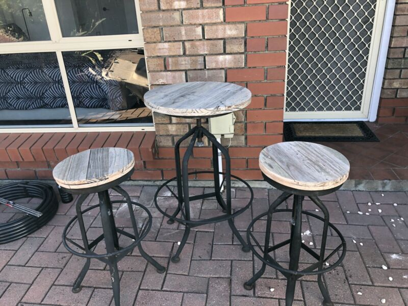 Superb Bar Table Two Stools Metal And Wood Outdoor Dining Interior Design Ideas Clesiryabchikinfo