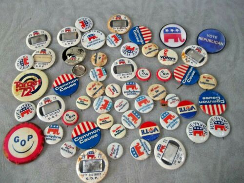 Vintage Lot of 30 GOP Pinback Political Buttons