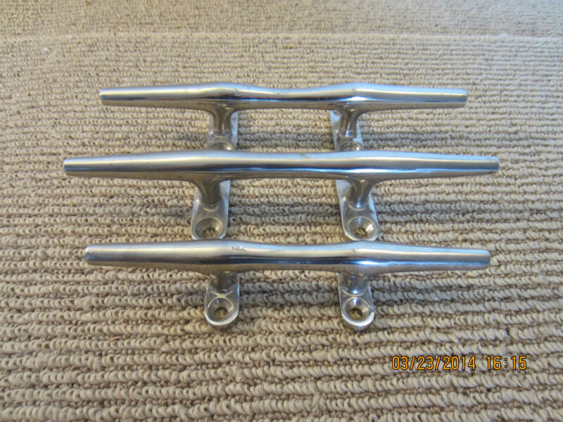SET OF THREE BRASS BOAT / DOCK MOORING CLEATS